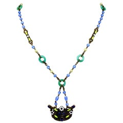 1920s Czech Blue and Green Glass Bead Necklace With Ornate Jeweled Pendant