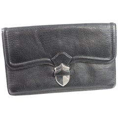 Vintage 40's Hermes Lady Clutch in Black Lizard