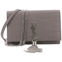 Saint Laurent Classic Monogram Tassel Chain Wallet Crocodile Embossed Leather