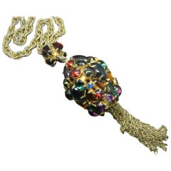 Schiaparelli multi-colour glass pendant gold-tone tassel necklace