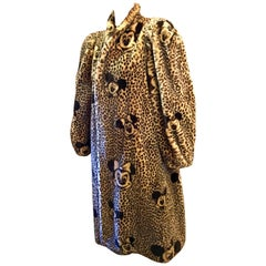 Vintage 1980s APROPOS Mickey and Minnie Mouse Full Length Leopard Faux Fur Coat