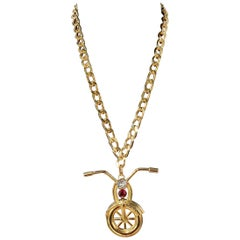 New Versace Runway 24K Plated Motorcycle Pendant Chain Necklace