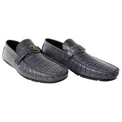 NEW ROBERTO CAVALLI GREY CROCODILE PRINT LEATHER LOAFERS SHOES for MEN 43 - 10