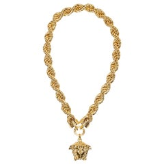 42ad065524 New Versace Runway 24K Gold Plated Medusa Chain Necklace as seen on Bruno  Mars