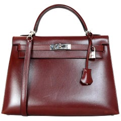 Hermes Red Rouge H Box Leather Rigid Sellier Kelly 32cm Bag w/ PHW