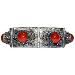 Circa 1940s Chinese Silver-Plated Filigree Carnelian Cabochon Bracelet