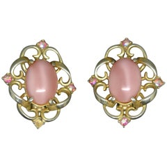 Schiaparelli 1950s pink glass gold-tone earrings