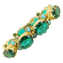 DeNicola Emerald Crystal & Turquoise Glass Link Bracelet 1960s