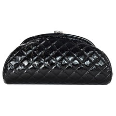 Chanel Black Patent Leather Quilted Timeless CC Frame Clutch Bag