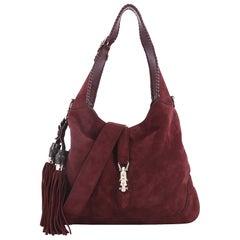 Gucci New Jackie Handbag Suede Medium