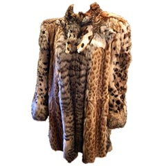 German Christine Vogdt 1970s Lynx Fur Stroller Length Coat US Size 8/European 40