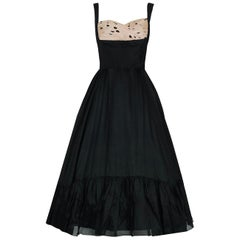 1950's Oleg Cassini Black & Pink Polka Dot Silk Shelf-Bust Full Party Dress