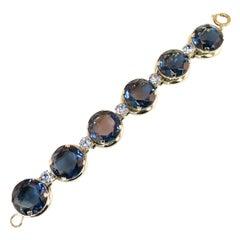 German Oversize Sapphire Headlamp Crystal Bracelet 1950s