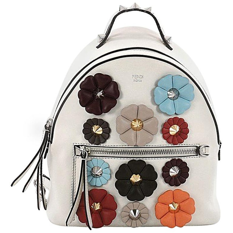 Fendi By The Way Flowerland Backpack Embellished Leather Mini