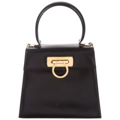 Salvatore Ferragamo Black Leather Gold Kelly Style Top Handle Mini Bag