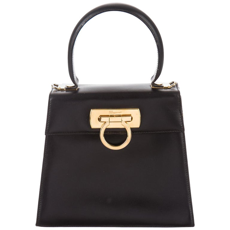 Salvatore Ferragamo Black Leather Gold Kelly Style Top Handle Mini Bag For  Sale at 1stdibs 6672709e0704f