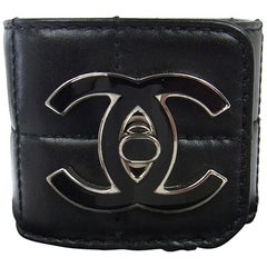 Chanel Black Quilted Leather Silver Charm CC Men's Women's Cuff Bracelet in Box