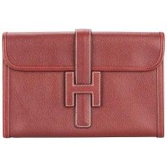 Hermes Red Leather 'H' Logo Charm Evening Envelope Clutch Bag