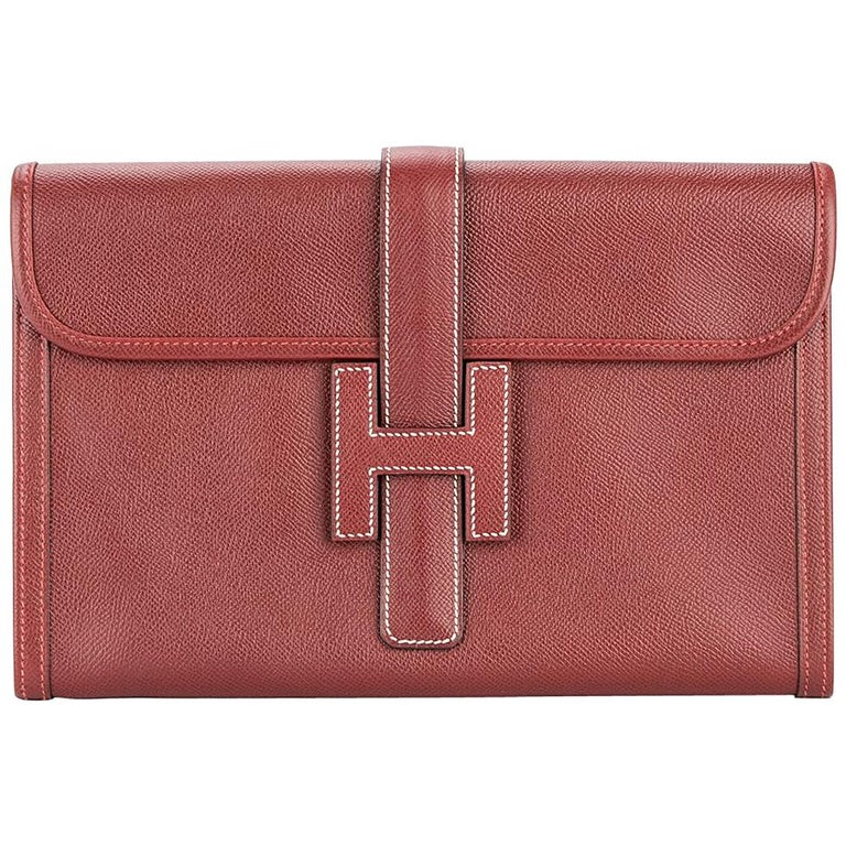 Hermes Red Leather 'H' Logo Charm Evening Envelope Clutch Bag