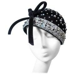 YVES SAINT LAURENT Vintage Black Felt Rhinestone Embellished Hat with Bow