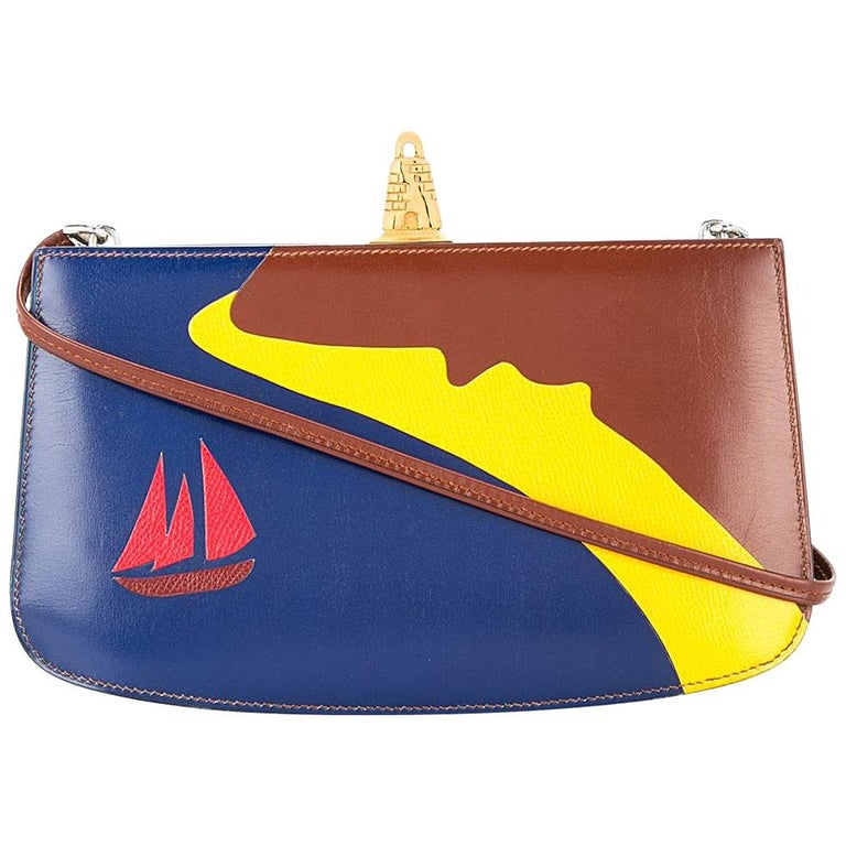 8b3d069ffdf Hermes Rare Leather Blue Yellow Red Boat 2 in 1 Evening Clutch Shoulder Bag  For Sale