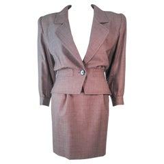 YVES SAINT LAURENT 1970's Brown Skirt Suit Size 4 6