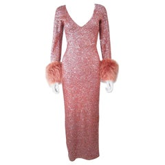 Vintage Rose Stretch Wool Sequin Gown W/ Fox Fur Trim Attributed to Gene Shelly