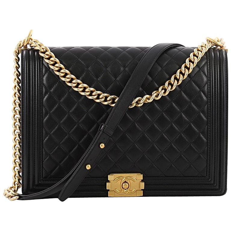 3358154fb3269e Chanel Boy Flap Bag Quilted Lambskin Large at 1stdibs