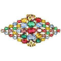 Tschechische Art-Deco Juwel-Ton Bohemian Crystal Brosche der 1920er Jahre