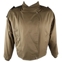 GIANNI VERSACE 42 Olive Solid Cotton Cropped Jacket