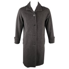 JEAN PAUL GAULTIER 40 Charcoal Tweed Wool Blend Long Coat