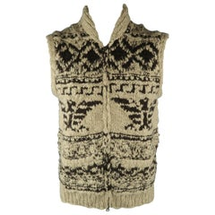 RRL by RALPH LAUREN M Khaki Hand Knit Wool Vest Sweater