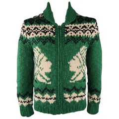 RRL by RALPH LAUREN M Green Hand Knit Wool Jacket / Sweater