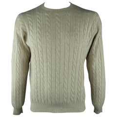 LORO PIANA Size 40 Khaki Cable Knit Cashmere Sweater