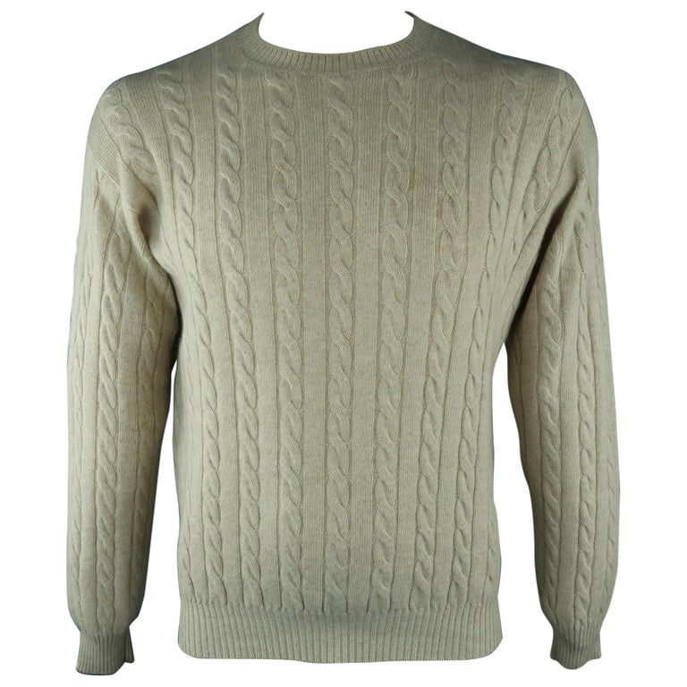 LORO PIANA Size 40 Khaki Cable Knit Cashmere Sweater For Sale