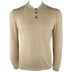 LUCIANO BARBERA Size 40 Khaki Knitted Cashmere Polo Pullover Sweater