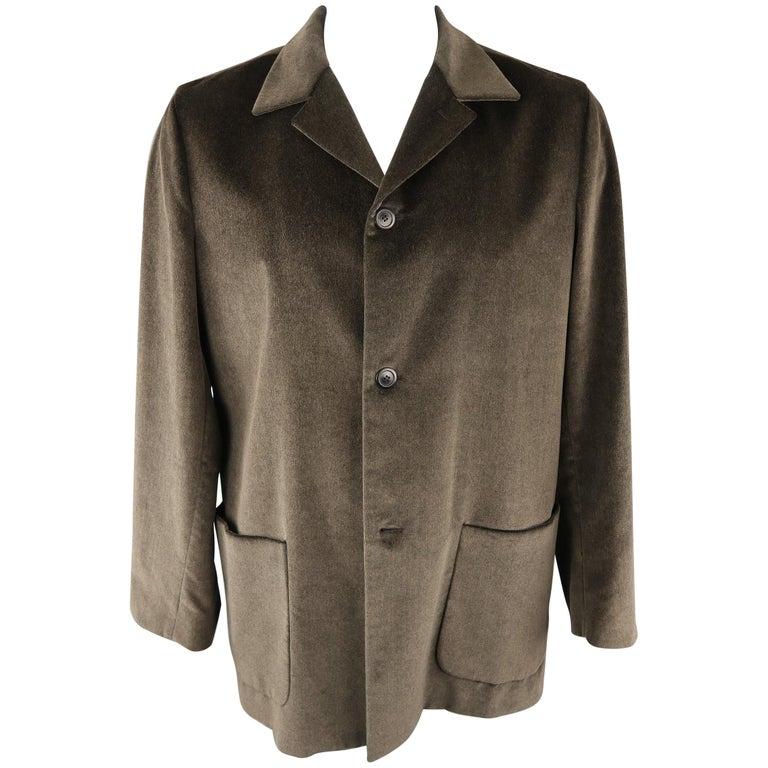 957d5fcc ERMENEGILDO ZEGNA 42 Olive Textured Cotton Velvet Jacket