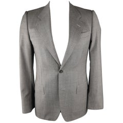 YVES SAINT LAURENT 38 Gray Solid Wool Sport Coat