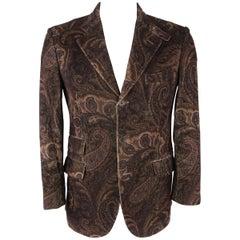 ETRO 40 Regular Brown Paisley Corduroy Blazer / Sport Coat