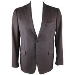 SALVATORE FERRAGAMO 42 Short Navy & Black Mixed Fabrics Wool / Mohair Sport Coat