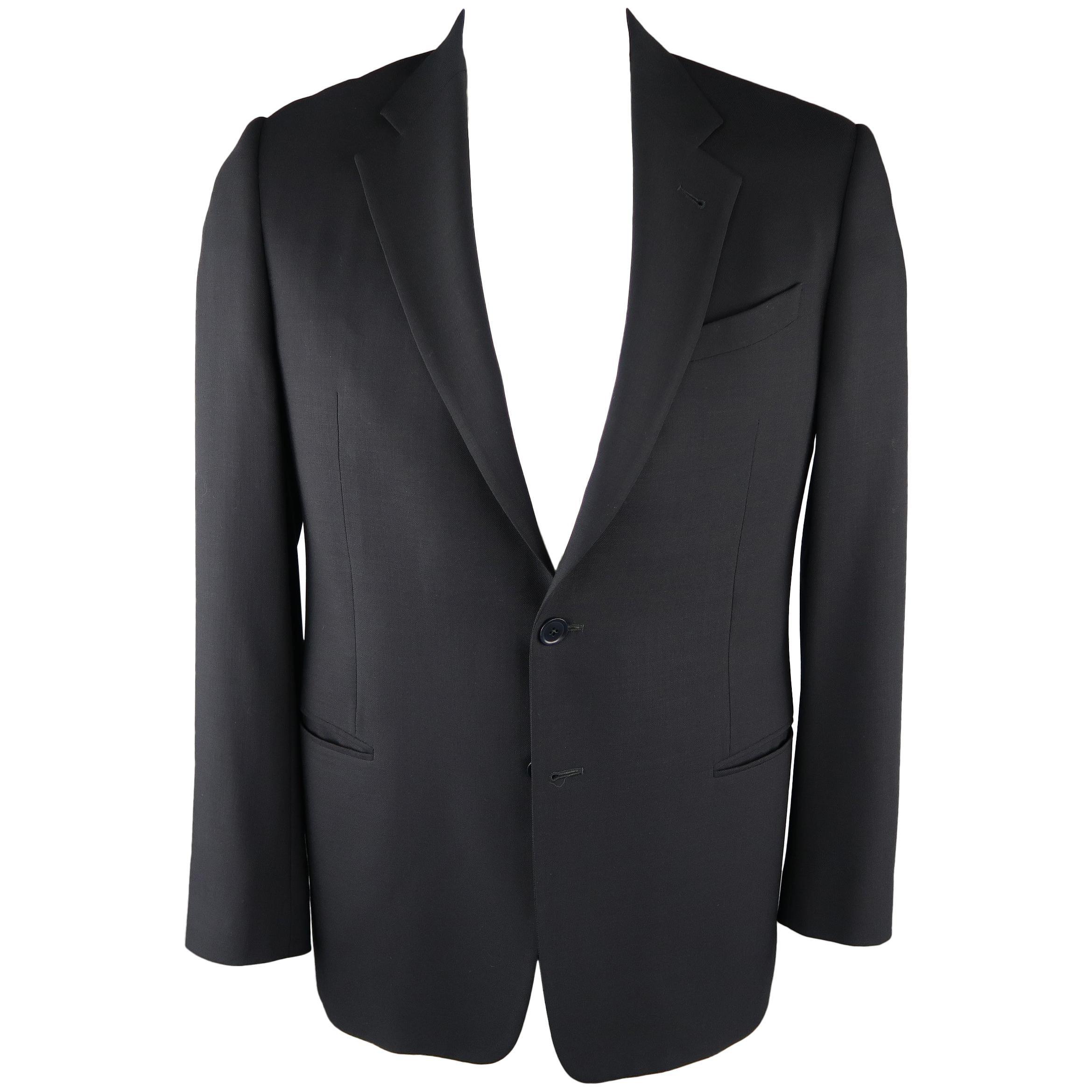 ARMANI COLLEZIONI 42 Regular Navy Solid Wool Blazer / Sport Coat