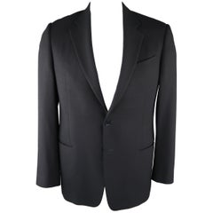 ARMANI COLLEZIONI 42 Regular Navy Solid Wool Blazer / Sport Coat