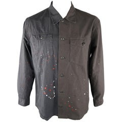 JOHN ELLIOTT + CO 44 Charcoal Painted Cotton Shirt Jacket