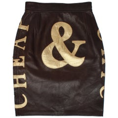 Moschino Cheap & Chic Chocolate and Gold Leather Pencil Skirt