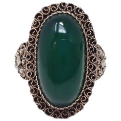Antique Victorian Green Art Glass Cabochon .800 Silver Cocktail Ring Size 7