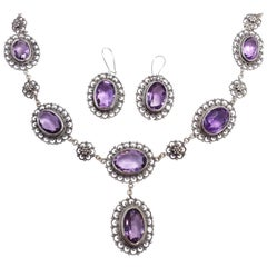 Antique Victorian Genuine Amethyst 800 Silver Demi Parure Earrings Necklace