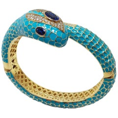 CZ by Kenneth Jay Lane KJL Cubic Zirconia Turquoise Coiled Snake Bangle Bracelet