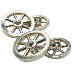 Hermes Silver 925 Wheel motif Cufflinks