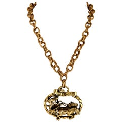 Mid-Century Joseff Of Hollywood Style Ben-Hur Gilt Gold Pendant Necklace
