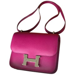 Hermes Bag Rose Pourpre Evercolor Phw Constance Mini Bag